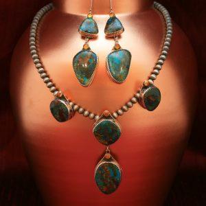 Kingman Arizona turquoise and amber necklace & earrings set by Annalisa Martinez
