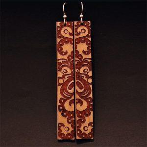 Long earrings by Crystal Worl, Tlingit & Athabascan