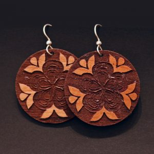 Athabascan flower earrings by Crystal Worl
