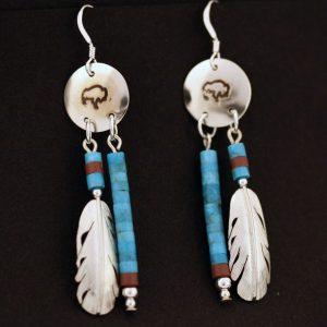 Buffalo shield earrings by H&J Chavez