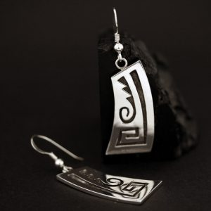Silver earrings by Anthony Honahnie, Hopi