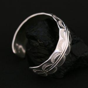Stamped silver bracelet by Jennifer Medina