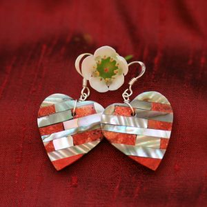 Heart earrings by Stephanie Medina mother of pearl and apple coral mosaic