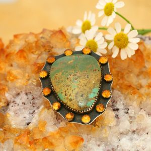 Amber and Turquoise brooch by Annalisa Martinez