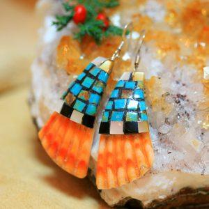 Mosaic earrings by Warren Nieto