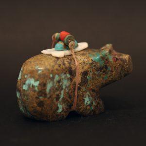 Turquoise bear fetish by Stuart Lasiloo