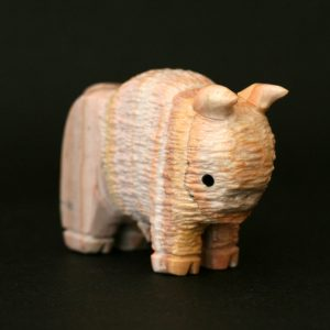 Buffalo calf hand carved from dolomite by Jess Espino, Zuni Pueblo New Mexico