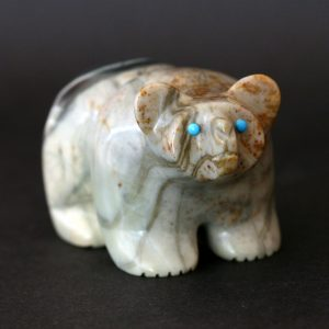 Zuni Fetish bear cub hand carved from picasso marble by Vernon Lunasee