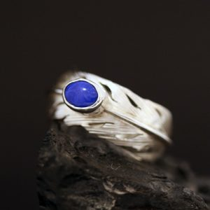 feather ring with lapis lazuli