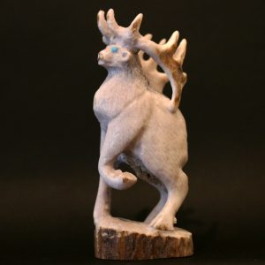 Zuni Fetish Stag (Na lih) carved from antler by Max Laate