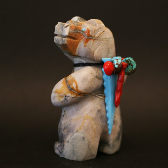 Zuni Fetish standing bear, carved from picasso marble by Douglas Martza adorned with turquoise and an array of turquoise and coral beads