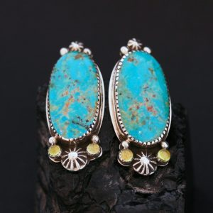 Kingman turquoise earrings by Joshua Concha