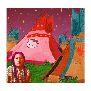 Hello Kitty Tipi, digital print by Debra Yepa-Pappan
