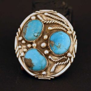 Navajo buckle with turquoise by Tony Baca