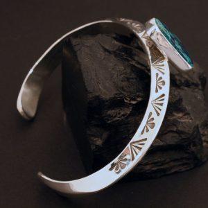 Azurite bracelet with stamped silver by Harvey & Janie Chavez