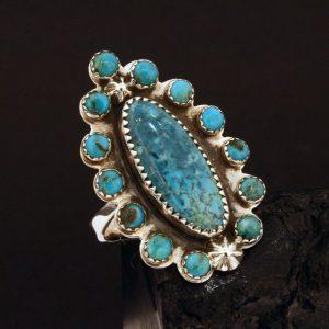 Blue Diamond turquoise ring by Joshua Concha