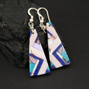 Lapis lazuli inlay earrings by Stephanie Medina