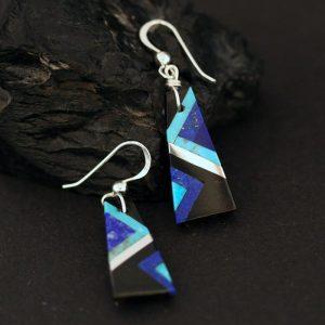 Blue black inlay earrings by Stephanie Medina