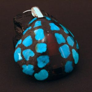 Turquoise shell pendant by Stephanie & Tanner Medina