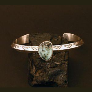 Variscite and stamped sterling silver bracelet