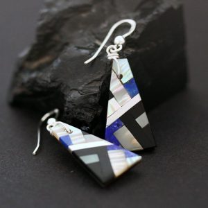 Mother of pearl mosaic earrings by S & T Medina