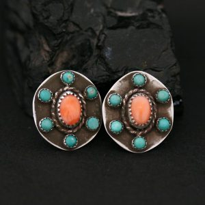 Pink coral & green turquoise studs by Annalisa Martinez