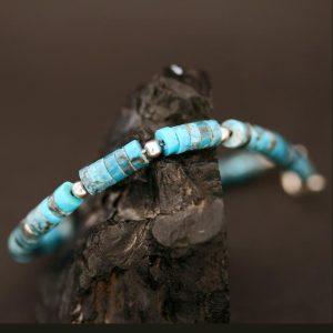 Turquoise bead bracelet by Harvey & Janie Chavez