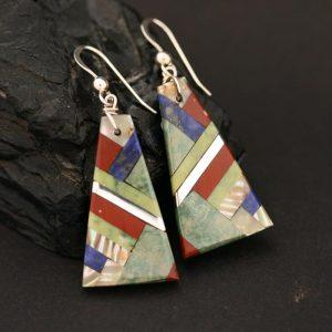 Pueblo inlay earrings by Tanner Medina