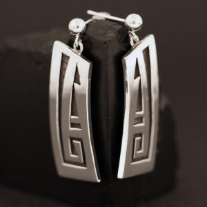 Silver overlay earrings by Anthony Honahnie