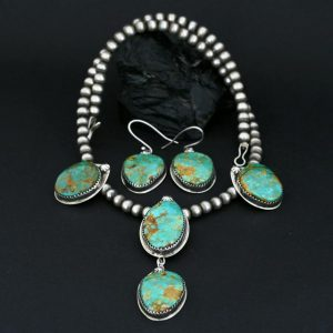 Kingman Turquoise Necklace & Earring Set by Annalisa Martinez, Taos Pueblo.