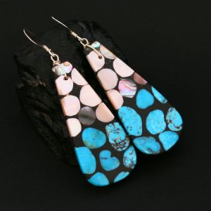 Turquoise & mother of pearl earrings by Stephanie Medina, Kewa Pueblo tribe