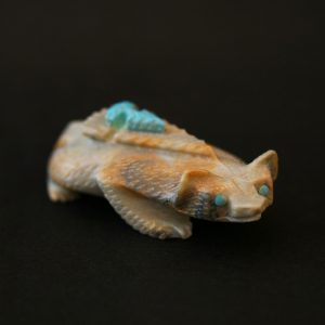 Zuni Badger fetish carving handmade from picasso marble with turquoise arrowhead by Alvin Haloo