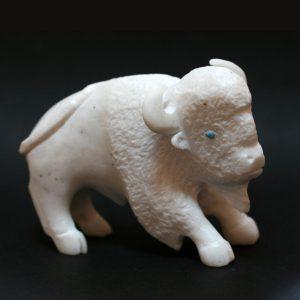 Zuni fetish White buffalo by Clive Hustito