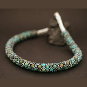 Turquoise beadwork necklace by Jennilee John
