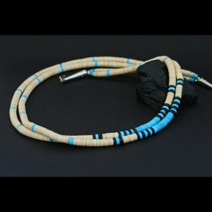 Melon shell & Turquoise necklace by Franklin & Dorothy Chavez