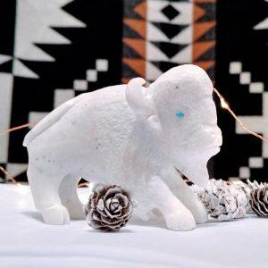 white buffalo / bison fetish carving