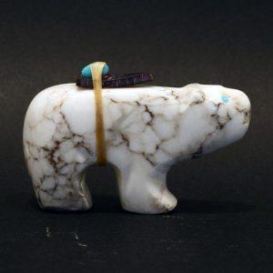 White alabaster Bear by Jimmy Yawakia