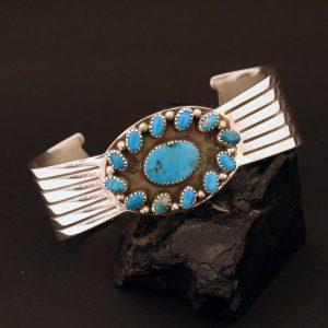 Blue Bird turquoise & Morenci turquoise bracelet by Joshua Concha