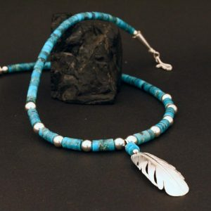 Turquoise & silver feather necklace by Harvey and Janie Chavez