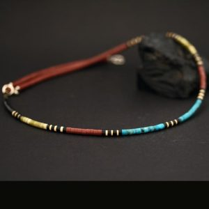 Heishi bead necklace by Harvey & Janie Chavez