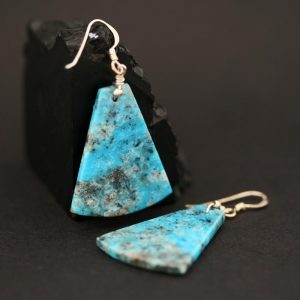 Turquoise slab earrings by H & J Chavez