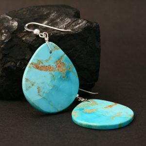 Turquoise slab earrings by Jennifer Medina