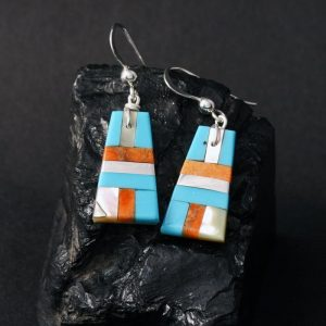 Turquoise mosaic earrings by Stephanie Medina and Tanner Medina