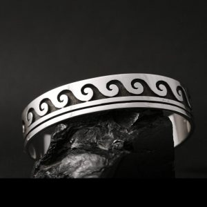 Sterling silver overlay water design bracelet by Anthonie Honahnie, Hopi