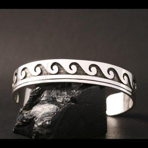 Water design bracelet by Anthony Honahnie, Hopi