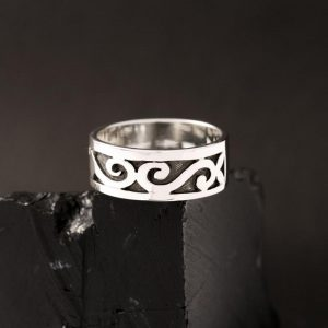 Sterling silver overlay Hopi band, size 8.5, by Anthony Honahnie