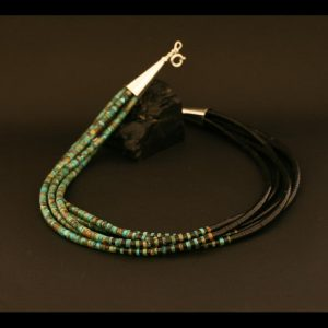 Five strand jet and turquoise necklace by Beatrice Aguilar