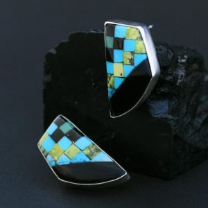 Mosaic stud earrings by Dana Chavez