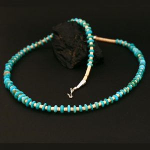 Melon shell and turquoise necklace by H & J Chavez