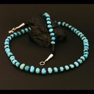 Black jet and turquoise necklace by H & J Chavez